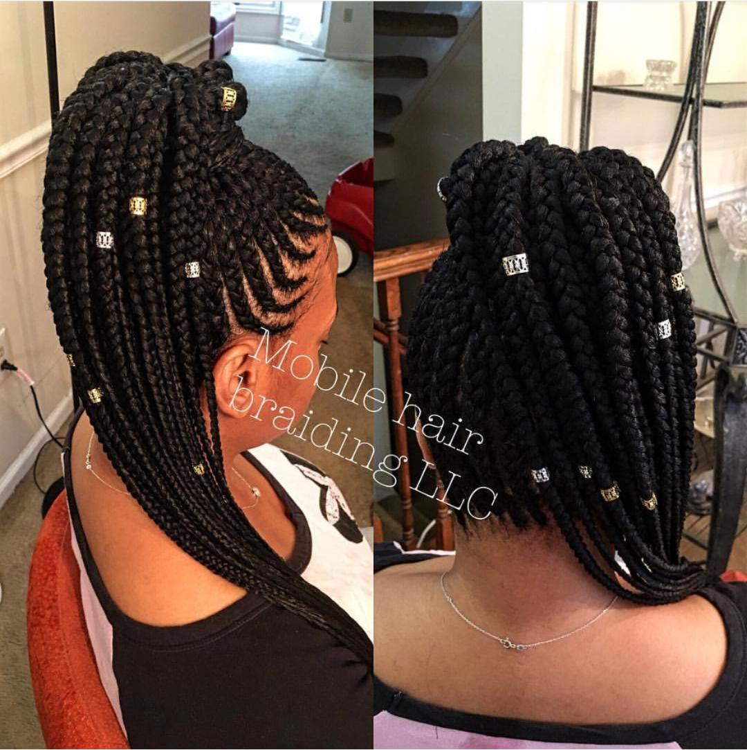 Feed-in Cornrows up in to a ponytail completed in Laurel, MD.